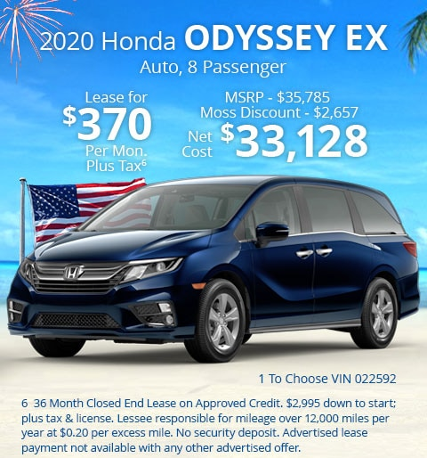 New 2020 Honda Odyssey EX Automatic - Lease for Only $370 per month plus tax[6]; OR Sale Price: $33,128