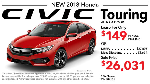 New 2018 Honda Civic Touring Sedan Automatic - Lease for Only $149 per month plus tax[2]; OR Sale Price: $26,031