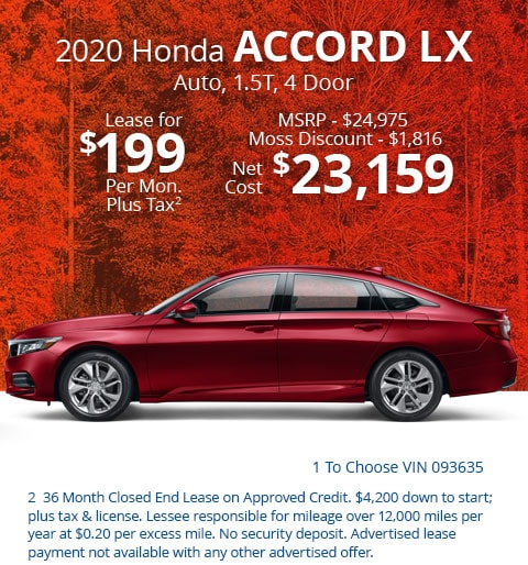 New 2020 Honda Accord LX 1.5T Sedan Automatic - Lease for Only $199 per month plus tax[2]; OR Sale Price: $23,159