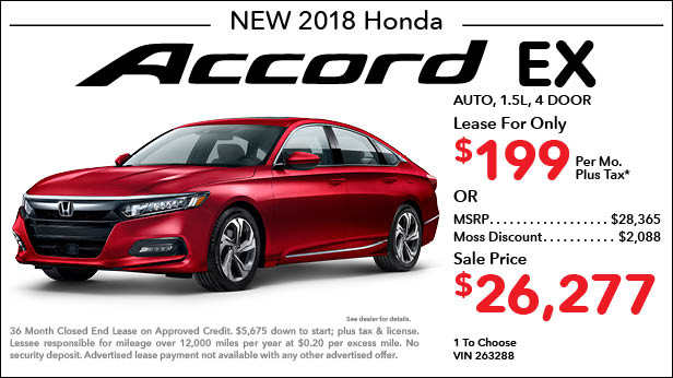 New 2018 Honda Accord EX Sedan Automatic - Lease for Only $199 per month plus tax[2]; OR Sale Price: $26,277