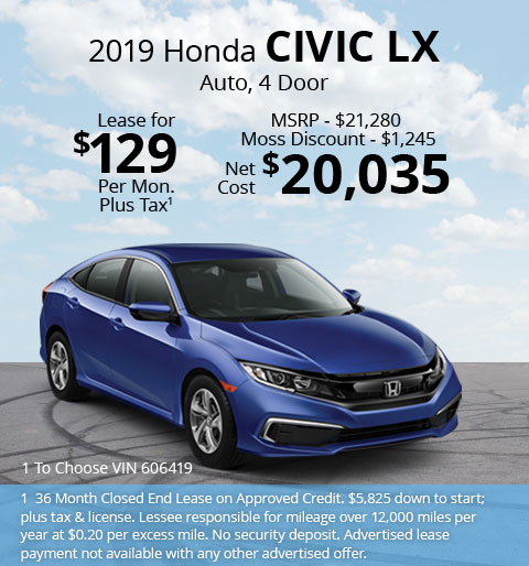 New 2019 Honda Civic LX Sedan Automatic - Lease for Only $129 per month plus tax[1]; OR Sale Price: $20,035