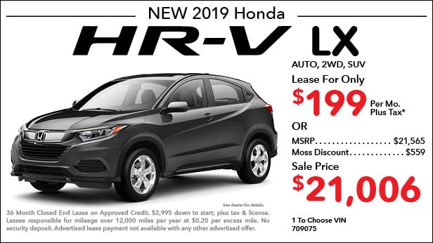 New 2018 Honda HR-V LX 2WD SUV Automatic - Lease for Only $199 per month plus tax[4]; OR Sale Price: $21,006