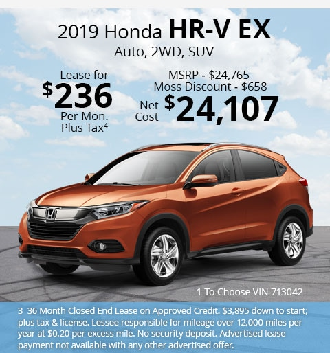 New 2019 Honda HR-V EX 2WD SUV Automatic - Lease for Only $236 per month plus tax[3]; OR Sale Price: $24,107