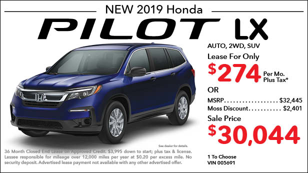 New 2018 Honda Pilot LX 2WD SUV Automatic - Lease for Only $274 per month plus tax[5]; OR Sale Price: $30,044
