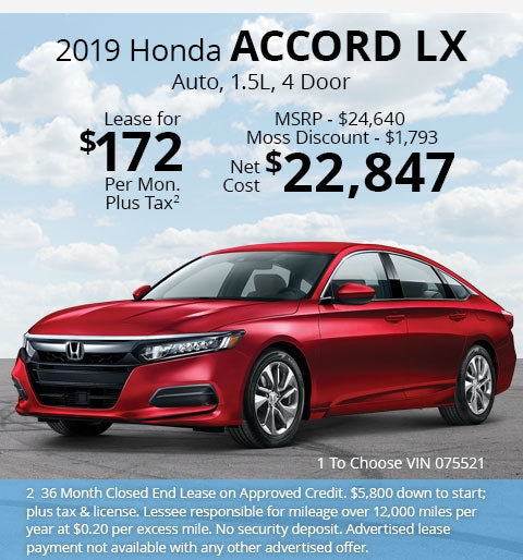 New 2019 Honda Accord LX Sedan Automatic - Lease for Only $172 per month plus tax[2]; OR Sale Price: $22,847