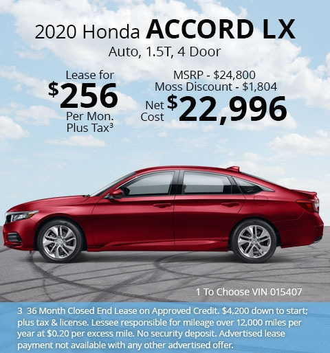 New 2020 Honda Accord LX 1.5T Sedan Automatic - Lease for Only $256 per month plus tax[3]; OR Sale Price: $22,996