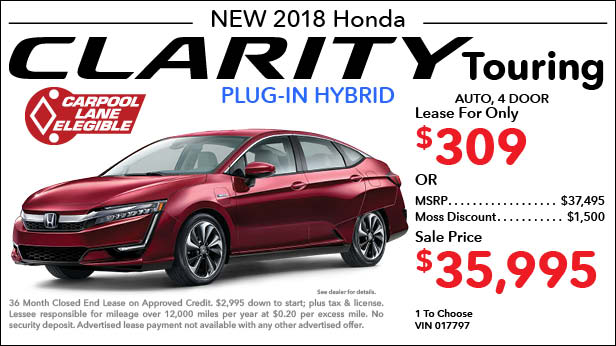 New 2018 Honda Clarity Plug-In Hybrid Touring Sedan Automatic - Lease for Only $309 per month plus tax[6]; OR Sale Price: $35,995