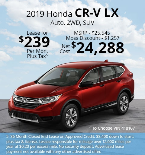 New 2018 Honda CR-V LX 2WD SUV Automatic - Lease for Only $239 per month plus tax[5]; OR Sale Price: $24,288