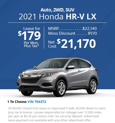 New 2021 Honda HR-V LX 2WD SUV - Lease for Only $179 per month plus tax[3]; OR Sale Price: $21,170