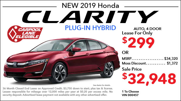 New 2019 Honda Clarity Plug-In Hybrid Sedan Automatic - Lease for Only $299 per month plus tax[6]; OR Sale Price: $32,948