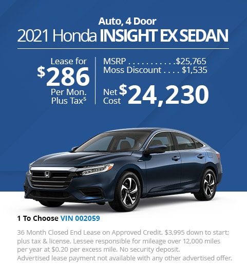 New 2021 Honda Insight EX Sedan - Lease for Only $286 per month plus tax[5]; OR Sale Price: $24,230
