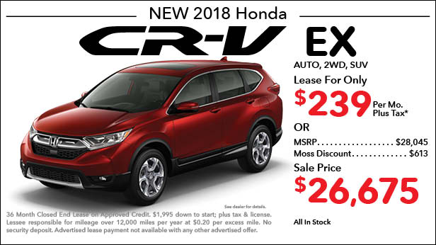 New 2018 Honda CR-V EX 2WD SUV Automatic - Lease for Only $239 per month plus tax[4]; OR Sale Price: $26,675