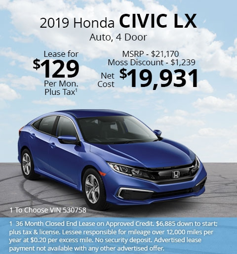 New 2019 Honda Civic LX Sedan Automatic - Lease for Only $129 per month plus tax[1]; OR Sale Price: $19,931