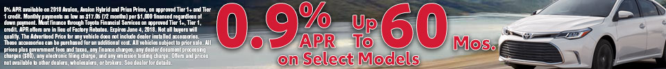 0.9% APR up to 60 Months On Select Vehicles