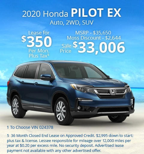 New 2020 Honda Pilot EX FWD SUV Automatic - Lease for Only $350 per month plus tax[5]; OR Sale Price: $33,006