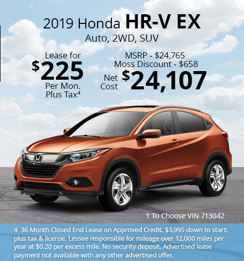 New 2018 Honda HR-V EX 2WD SUV Automatic - Lease for Only $225 per month plus tax[4]; OR Sale Price: $24,107