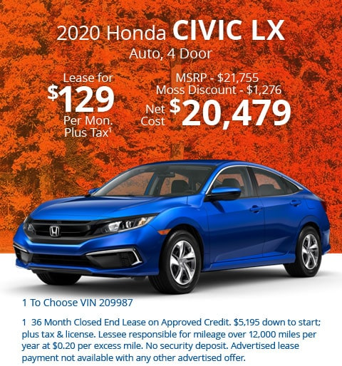 New 2020 Honda Civic LX Sedan Automatic - Lease for Only $129 per month plus tax[1]; OR Sale Price: $20,479