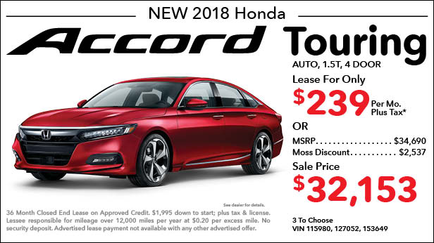 New 2018 Honda Accord Touring Sedan Automatic - Lease for Only $239 per month plus tax[5]; OR Sale Price: $32,153