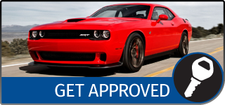 Graphical Button with the text Get Approved, showing a red Dodge Challenger driving on a road, and a Key icon
