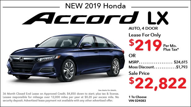 New 2019 Honda Accord LX Sedan Automatic - Lease for Only $219 per month plus tax[3]; OR Sale Price: $22,822