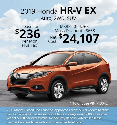 New 2019 Honda HR-V EX 2WD SUV Automatic - Lease for Only $236 per month plus tax[2]; OR Sale Price: $24,107