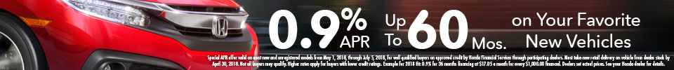 0.9% APR up to 60 Months Offer