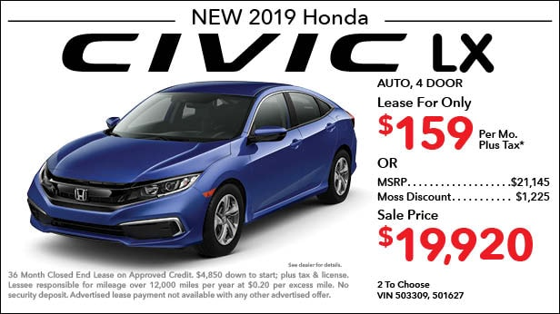 New 2019 Honda Civic LX Sedan Automatic - Lease for Only $159 per month plus tax[2]; OR Sale Price: $19,920