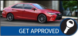 Graphical Button with the text Get Approved, showing a Red Toyota Camry driving in the city, and a KEY icon
