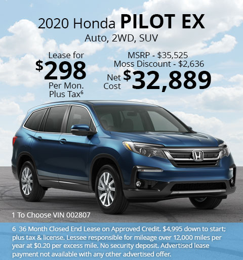 New 2020 Honda Pilot EX FWD SUV Automatic - Lease for Only $298 per month plus tax[6]; OR Sale Price: $32,889