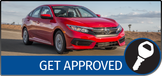 Graphical Button with the text Get Approved, showing a red Honda sedan driving on an open road, and a KEY icon