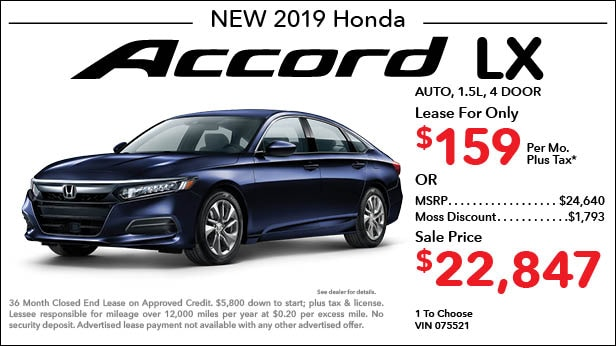 New 2019 Honda Accord LX Sedan Automatic - Lease for Only $159 per month plus tax[3]; OR Sale Price: $22,847
