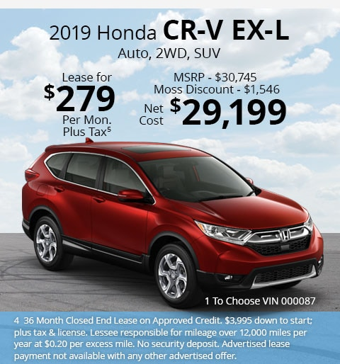 New 2019 Honda CR-V EX-L 2WD SUV Automatic - Lease for Only $279 per month plus tax[4]; OR Sale Price: $29,199