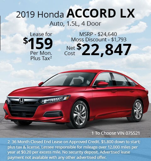 New 2019 Honda Accord LX Sedan Automatic - Lease for Only $159 per month plus tax[2]; OR Sale Price: $22,847