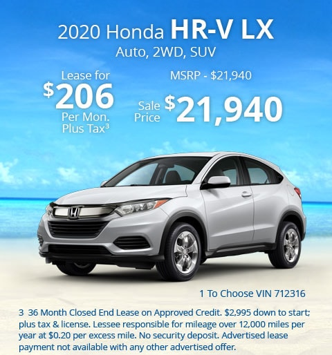 New 2020 Honda HR-V LX 2WD SUV Automatic - Lease for Only $206 per month plus tax[3]; OR Sale Price: $21,940