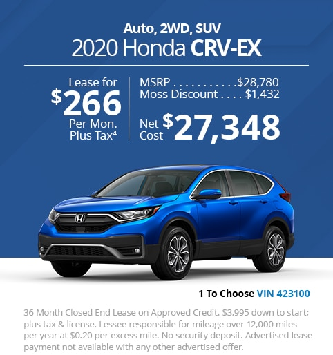 New 2020 Honda CR-V EX 2WD SUV - Lease for Only $266 per month plus tax[4]; OR Sale Price: $27,348