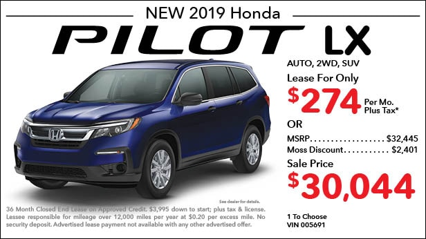 New 2019 Honda Pilot LX FWD SUV Automatic - Lease for Only $274 per month plus tax[6]; OR Sale Price: $30,044
