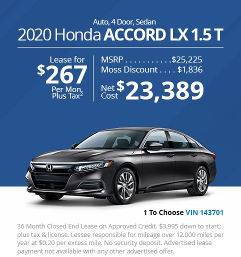 New 2020 Honda Accord LX 1.5T Sedan - Lease for Only $267 per month plus tax[2]; OR Sale Price: $23,389