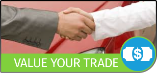 Graphical Button with the text Value Your Trade, showing a handshake in front of a red vehicle, and a Dollar-Bill icon