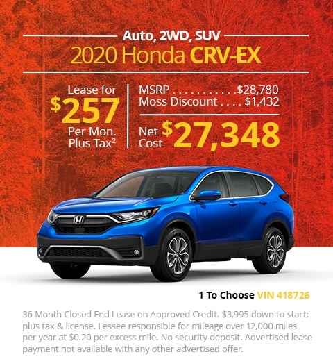 New 2020 Honda CR-V EX 2WD SUV Automatic - Lease for Only $257 per month plus tax[4]; OR Sale Price: $27,348