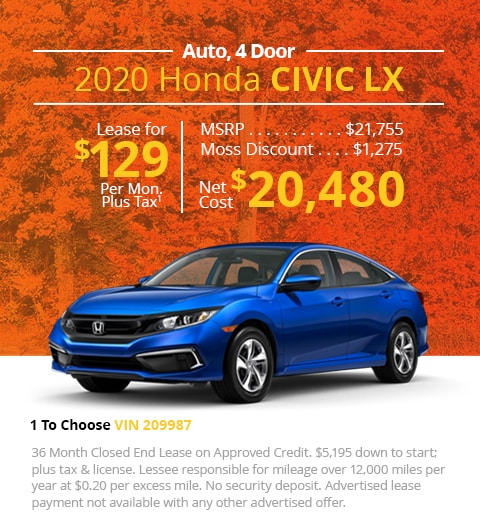 New 2020 Honda Civic LX Sedan Automatic - Lease for Only $129 per month plus tax[1]; OR Sale Price: $20,480
