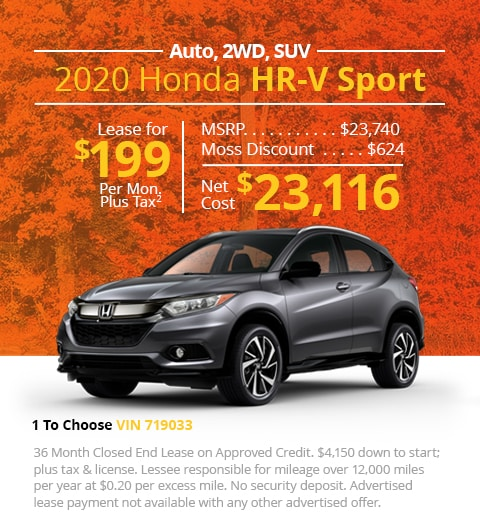 New 2020 Honda HR-V SPORT 2WD SUV Automatic - Lease for Only $199 per month plus tax[3]; OR Sale Price: $23,116