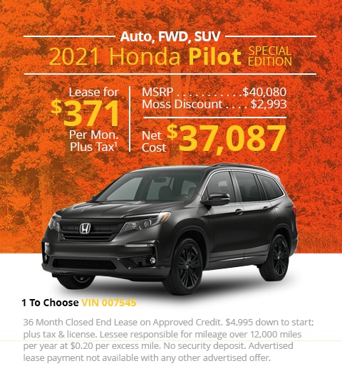 New 2021 Honda Pilot Special Edition FWD SUV Automatic - Lease for Only $371 per month plus tax[6]; OR Sale Price: $37,087