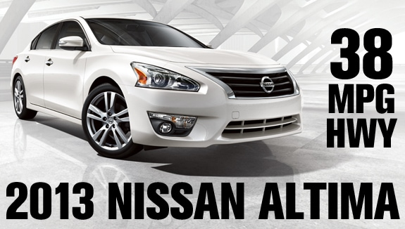 2013 Altima (4cyl): The Full Size Sedan With Small Car MPG! 38 MPG Hwy.
