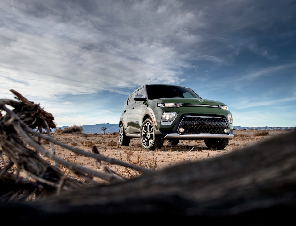 2020 Kia Soul Parked in the Desert