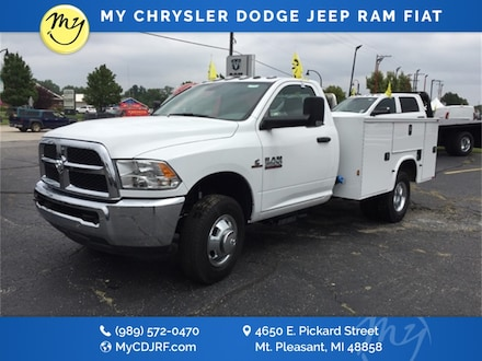 Featured New 2018 Ram 3500 Chassis Cab 3500 TRADESMAN CHASSIS REGULAR CAB 4X2 143.5 WB Regular Cab for sale in Mt. Pleasant, MI