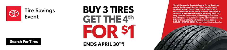 Toyota Buy 3, Get 1 Tire Event