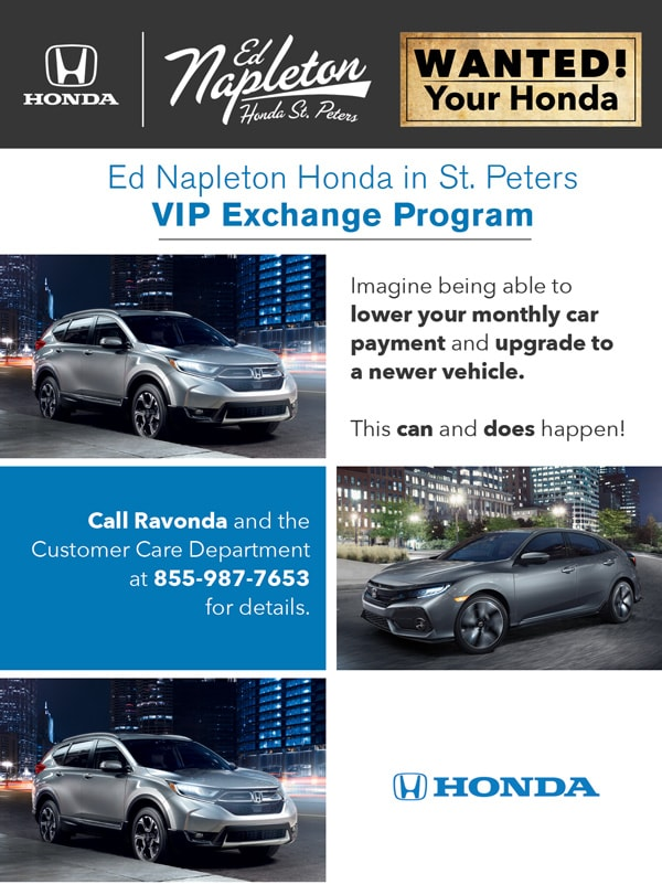 Ed Napleton Honda >> Vehicle Exchange Program Ed Napleton Honda