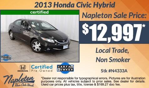 Napleton River Oaks Honda, IL 2013 Honda Civic Hybrid