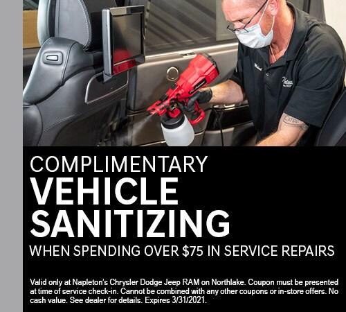 Complimentary Vehicle Sanitizing when spending over $75