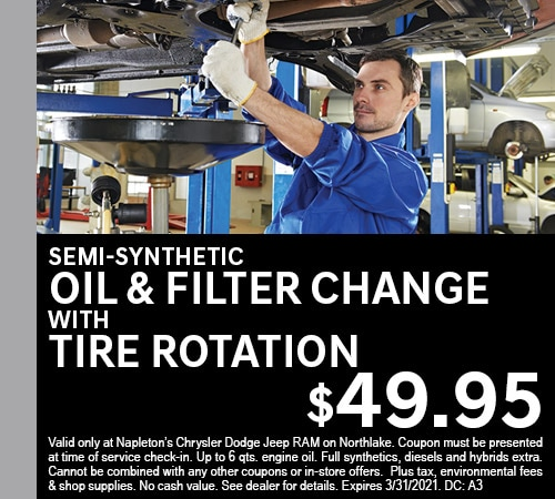 Semi-Synthetic Oil & Filter Change with Tire Rotation